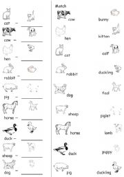 English Worksheet Farm Animals Young