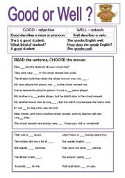 GOOD OR WELL? - ESL worksheet by nikabike