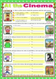 English Worksheet: At the Cinema  -  easy, short dialogues for young learners