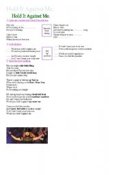 English Worksheet: Song Hold It Against Me By Britney Spears