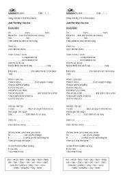 English Worksheet: Just the Way You Are by Bruno Mars