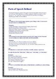 English Worksheets: Part of speech