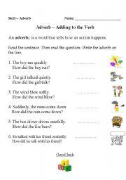 English Worksheets: a dverb