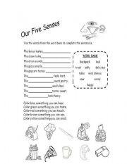 our five senses esl worksheet by crisvalper. Black Bedroom Furniture Sets. Home Design Ideas