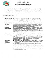 English Worksheets: quick study tips