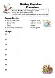 English Worksheet: making Pancakes Procedure