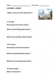 English Worksheet: LISTENING COMPREHENSION : LONDON VIDEO (youtube)