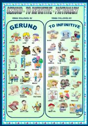 English Worksheets: GERUND - TO INFINITIVE -PICTIONARY