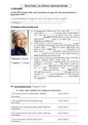 English worksheet: Rosa Parks-segregation