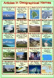 English Worksheet: Articles in geographical names - a  test