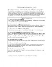 English Worksheet: Vocabulary using context clues