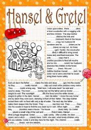 English Worksheet: HANSEL AND GRETEL READING (the simple past tense) (two pages) (editable)