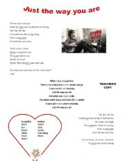 English Worksheet: Song - Just the way you are - Bruno Mars