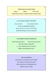 English Worksheet: SPEAKING PRACTICE for A1-A2 students