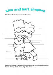 English Worksheets:  body words with lisa and bart