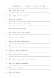 English Worksheets: when what where how