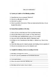 English Worksheets: Worksheet on the COLONEL�s COAT