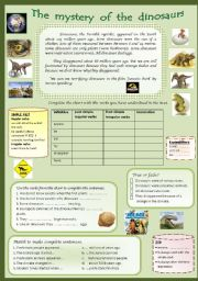 Dinosaurs. reading comprehension and past simple for beginners