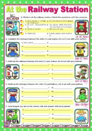 English Worksheets: At the Railway Station  -  easy, short dialogues for young learners