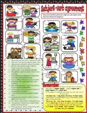 English Worksheet: Subject verb agreement  1***EDITABLE***ANSWER KEY INCLUDED