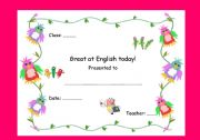 Great at English today Award