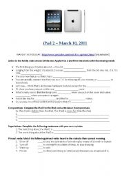 English Worksheet: iPad 2 review from YouTube video