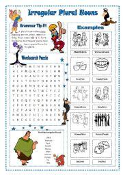 English Worksheet: Irregular Plural Nouns