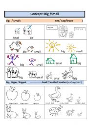 English Worksheets: Concept: size