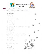 English Worksheets: four kinds of sentences