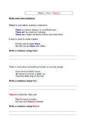 English Worksheets: There Their They�re