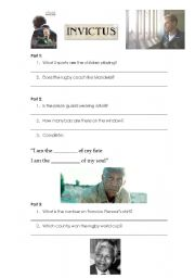 English Worksheets: Invictus movie in one lesson!