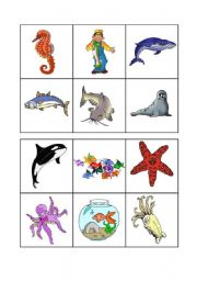 English Worksheet: Sea animals bingo - 1 of 3