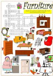 English Worksheets: PIECES OF FURNITURE CROSSWORD (Part I)