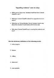 English Worksheets: Libya Conflict