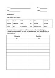 English Worksheets: gender