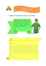 English Worksheets: Write a letter to a penfriend