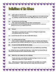 English Worksheets: CAT IDIOMS (Part 2)