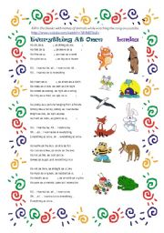 English Worksheet: Everything At Once by Lenka-Learning Similes