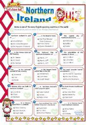 English Worksheet: Northern Ireland Quiz