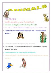 English Worksheets: Guess the animal.What am I?