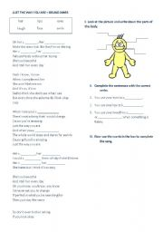 English Worksheets: Song activity parts of the body