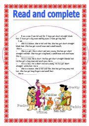 English Worksheets: The flinstones