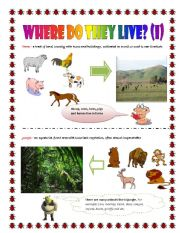 English Worksheets: Where do they live (part I)