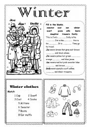 English Worksheets: Winter
