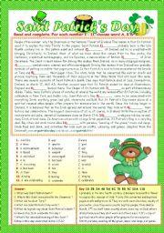 English Worksheets: SAINT PATRICK´S DAY.