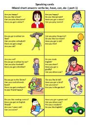 English Worksheets: short answer speaking cards 1/2