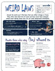 English Worksheets: to be allowed to - weird laws around the world - fully editable