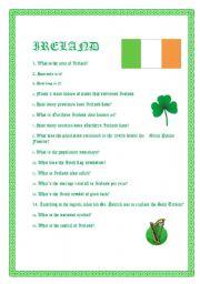 English Worksheet: INTRODUCING IRELAND - VIDEO SESSION (2,21