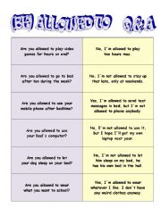 English Worksheet: QUESTIONS AND ANSWER CARDS: be allowed to
