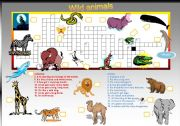 20 animal names Criss-Cross puzzle with key